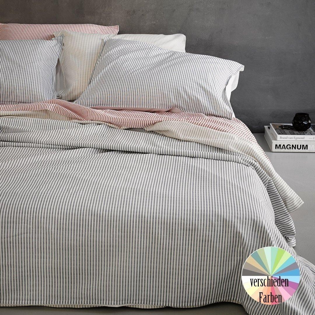 landhaus streifen bettw sche www wunschbettw. Black Bedroom Furniture Sets. Home Design Ideas