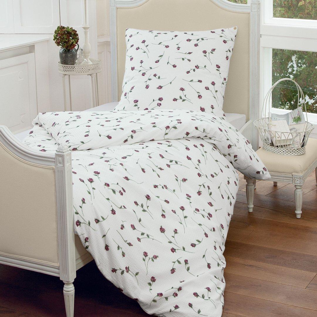 blumen seersucker bettw sche rot www wunschbettw. Black Bedroom Furniture Sets. Home Design Ideas