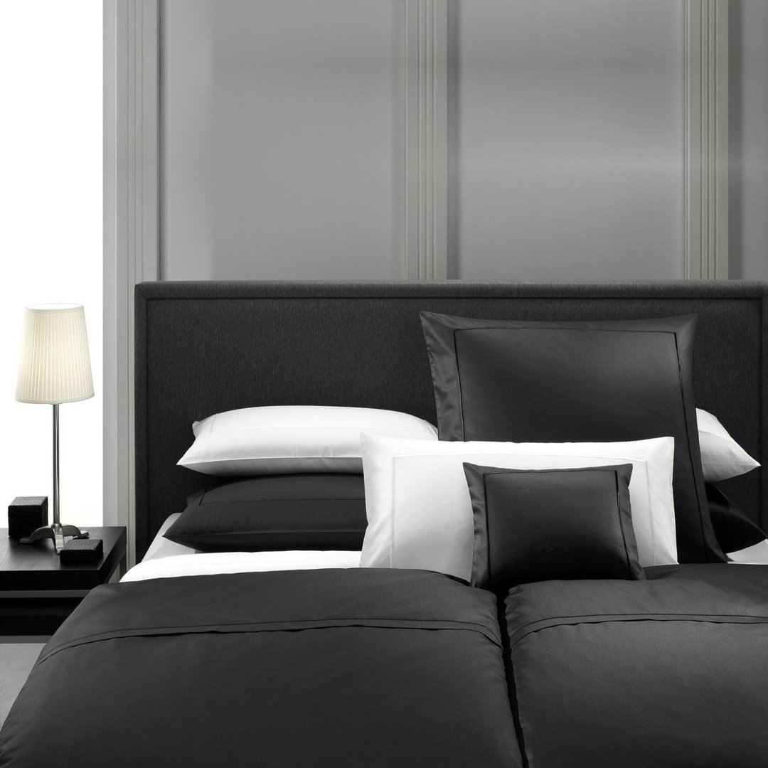 lorena premium mako satin bettw sche schwarz wei www. Black Bedroom Furniture Sets. Home Design Ideas