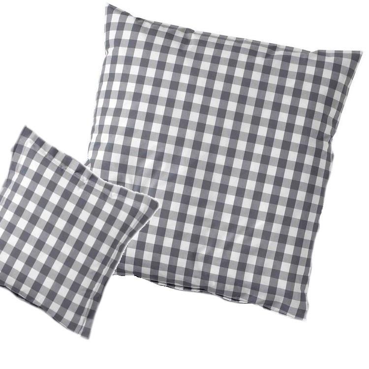 karierte kissenh llen in grau www wunschbettw. Black Bedroom Furniture Sets. Home Design Ideas