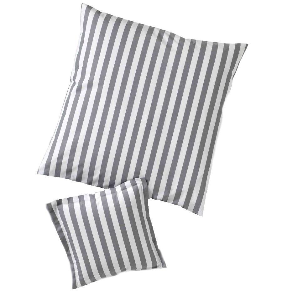 streifen kissenh llen in silber www wunschbettw. Black Bedroom Furniture Sets. Home Design Ideas