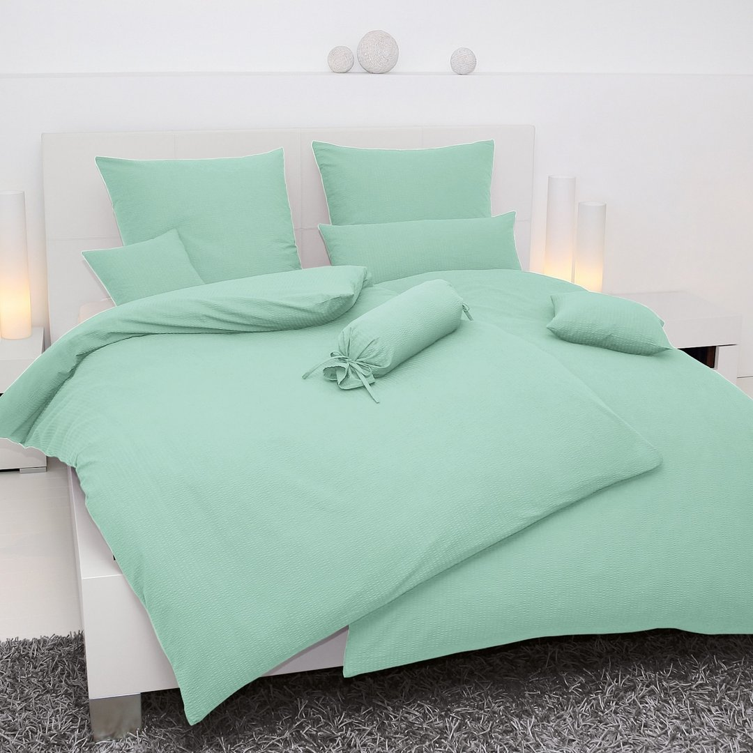 hellgr ne seersucker bettw sche janine. Black Bedroom Furniture Sets. Home Design Ideas