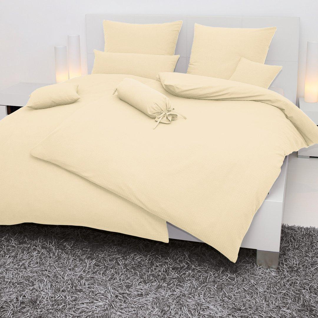 janine seersucker bettw sche creme im onlineshop wunschbettw sche. Black Bedroom Furniture Sets. Home Design Ideas