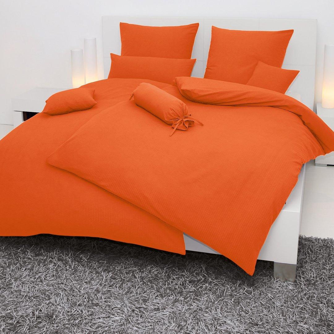 janine seersucker bettw sche orange bestellen wunschbettwaesche. Black Bedroom Furniture Sets. Home Design Ideas