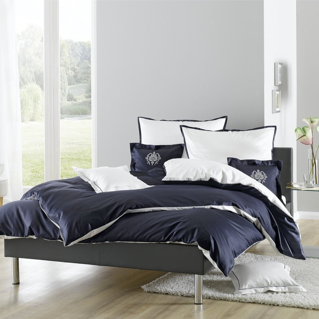lorena bettw sche juliet 7916 marine blau wei wunschbettw sche. Black Bedroom Furniture Sets. Home Design Ideas