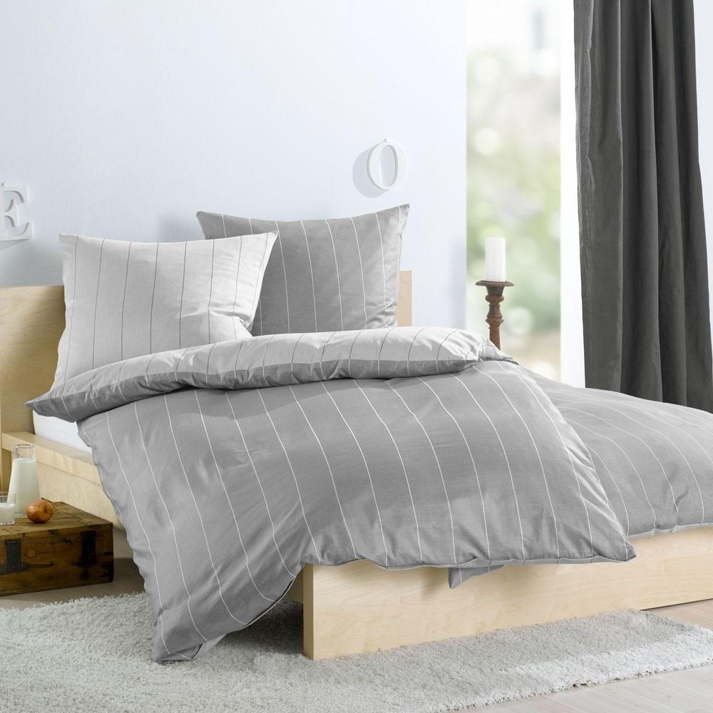 bettbezug streifen satin silber 135x200 www wunschbettw. Black Bedroom Furniture Sets. Home Design Ideas
