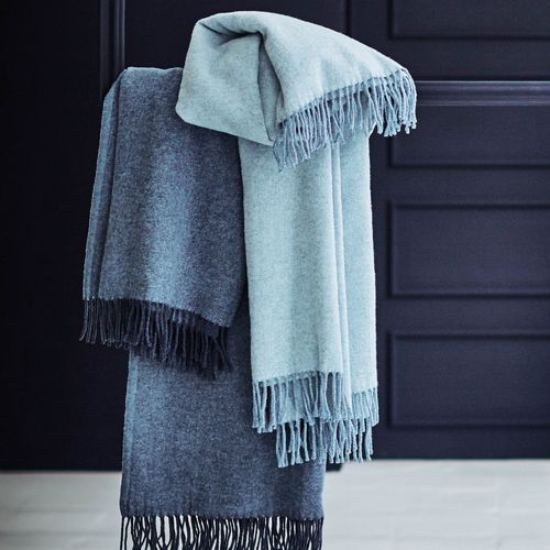 PROFLAX Woll-Plaid mit Fransen Cloud Blau