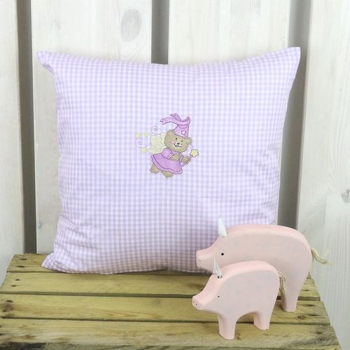 Mini Karo Lila Kinderkissen 40x40 Teddy-Fee