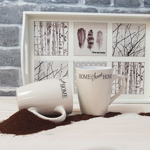 Kaffeebecher 10cm Sweet Home 2er Set Farbe Sand